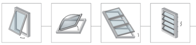 Airwin Rack actuator Comunello shed top-hung windows skylights brise soleil blades and domes