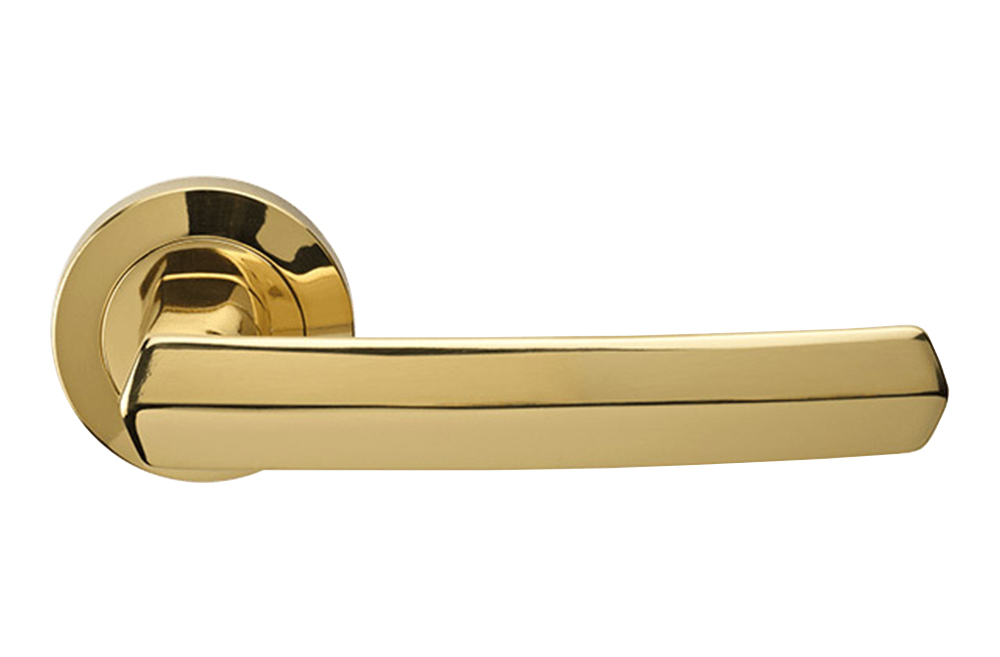 Gentil Dafne Polished Brass Door Handle With Round Rose For Modern House By Linea  Calì