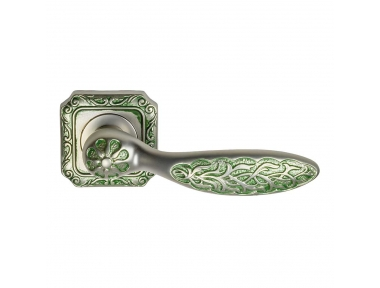 1065-9 Shamira Class Door Handle on Rose Frosio Bortolo With Arabic Ornaments