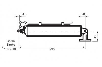"""Rod Actuator WAY Mingardi D4 Fce Stroke 180mm """"T"""""""