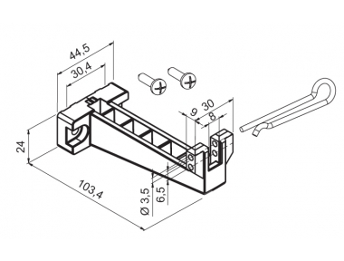 Bracket for Bottom-Hinged Windows with Accessories WAY Mingardi Micro