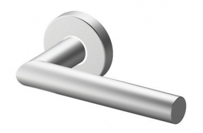Pair of Toledo Tropex Door Handles Satin Stainless Steel Round or Oval Rose