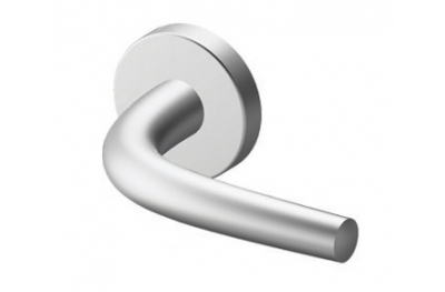 Pair of Meran Tropex Door Handles Satin Stainless Steel Round or Oval Rose