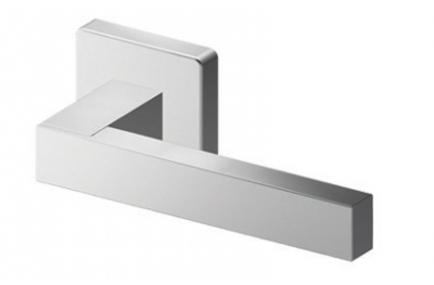Pair of Phoenix Tropex Door Handles Satin Steel Square or Rectangular Rose