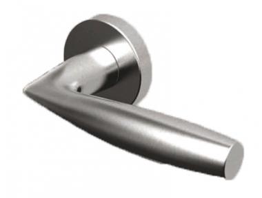 Pair of Naxos Tropex Door Handles Satin Stainless Steel Round or Oval Rose