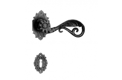 15 Galbusera Door Handle with Rosette and Escutcheon Plate Artistic Wrought Iron