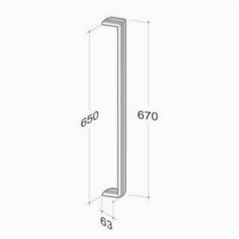200E-031 pba Tubular Elliptical Pull Handles in Stainless Steel AISI 316L