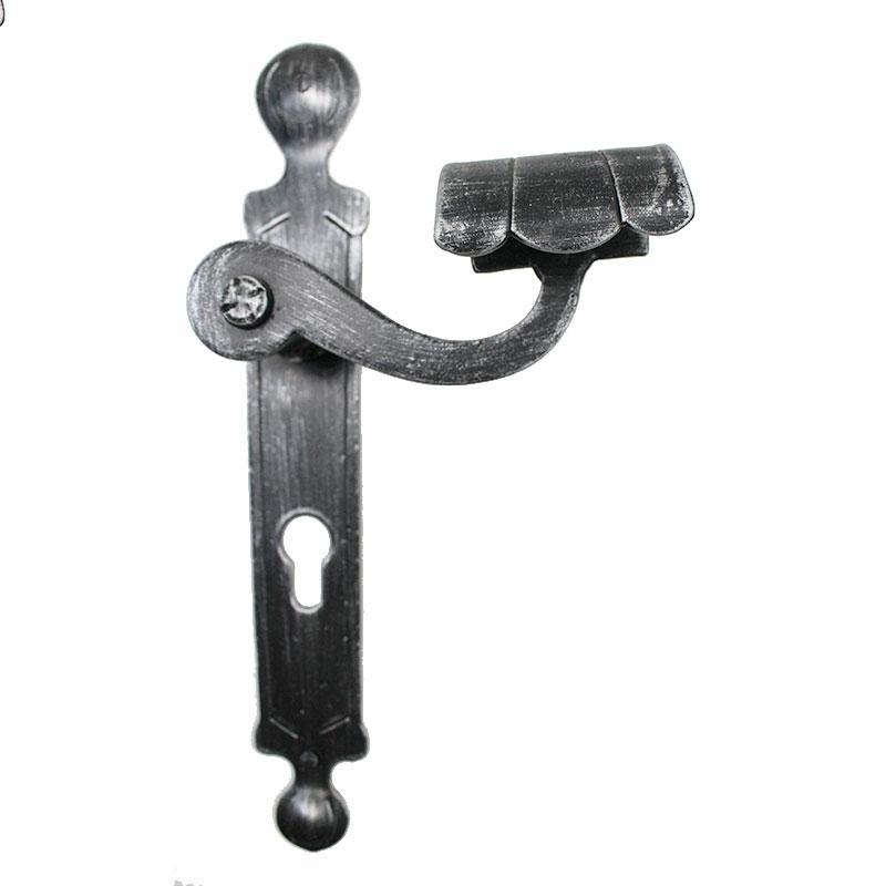 2036 Round Wrought Iron Door Handle On Plate Lorenz Ferart