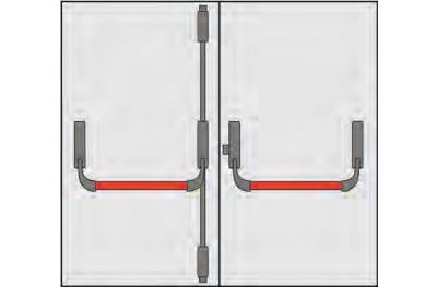 Handle Panic Omec Composition doors two doors three points Closing