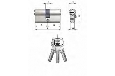Double Cylinder Omec Brass Nickel Shaped 6 Pins 80mm L 40/40