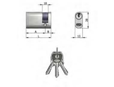 Half cylinder Omec Brass Oval Nickel 5 Pins 37mm L 27/10