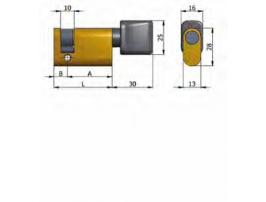 Half cylinder Omec with Knob Brass Oval 37mm L 27/10
