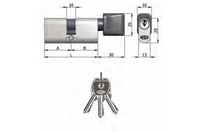 Double Cylinder Omec with Knob Brass Oval Nickel 5 Pins 60mm L 30/30