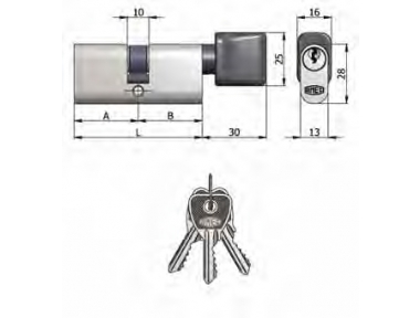Double cylinder with Omec Nickel Knob Brass Oval 5 Pins 70mm L 35/35