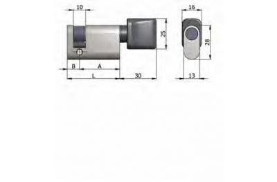 Half cylinder Omec with Knob Brass Oval Nickel 40mm L 30/10