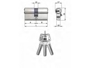 Double Cylinder Omec Brass Nickel Shaped 6 Pins 90mm L 45/45