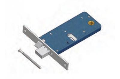 Deadbolt and latch lock for Omec range Mechanics Aluminium