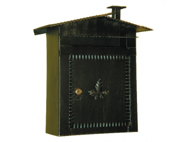 6002 Wrought Iron Roof and Fireplace Mailbox Carrying Newspapers Lorenz