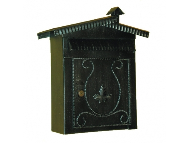 6008 Wrought Iron Mailbox with Roof and Fireplace Handmade Lorenz Ferart