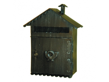 6014 Wrought Iron Pitched Roof Mailbox Carrying Newspapers Lorenz Ferart