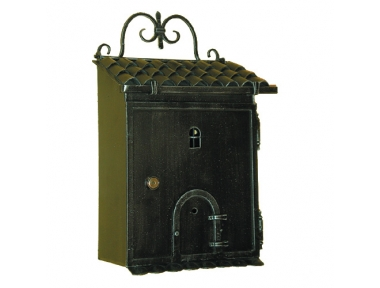 6016 Wrought Iron Home Shape Mailbox Carrying Newspapers Lorenz Ferart