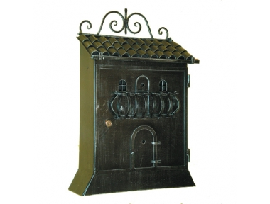 6018 Wrought Iron Home Shape Mailbox Carrying Newspapers Lorenz Ferart