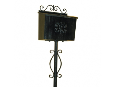 6031 Handcrafted Wrought Iron Bread Box With Upright Lorenz Ferart