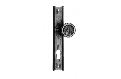 61/F Ø55 Clamped Fixed Door Knob on Plate Artistic Wrought Iron