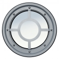 Metallic railing porthole stainless steel AISI 304 type B Raised