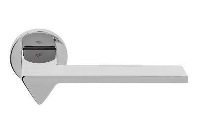 Ama Polished Chrome Door Handle on Rosette by Designer Architect Andrea Maffei for Colombo Design