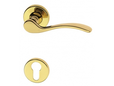 Anna Door Handle on Round Rosette Brass-made Easy Line PFS Pasini