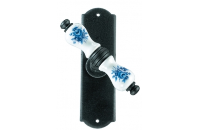 Athens Galbusera Window Handle with Plate Porcelain and Wrought Iron