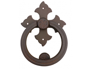 Cross Door Knocker with Ring Galbusera Wrought Iron
