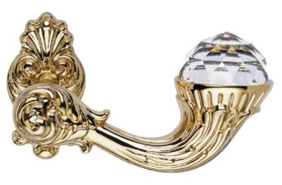 Brillant Crystal Gold Plated Door Handle on Rosette Linea Calì Vintage