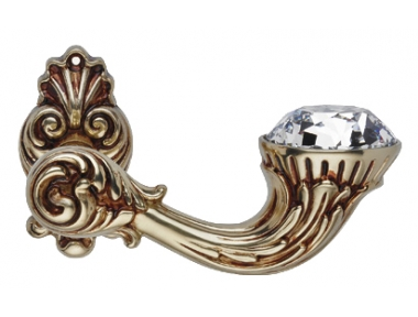 Brillant Diamond French Gold Door Handle on Rosette Linea Calì Vintage