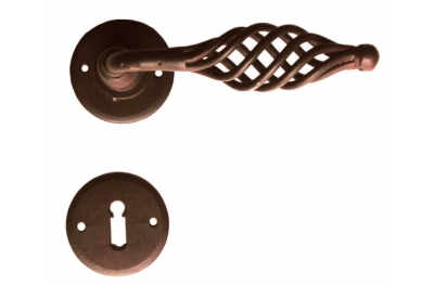 Round Budapest Galbusera Door Handle with Rosette and Escutcheon Plate