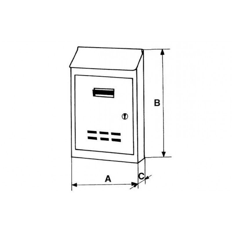 Steel Grey Painted Mail Box with Cylinder Lock One Key Small or Medium Size IBFM