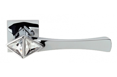 Cometa Polished Chrome Door Handle on Rosette Linea Calì Crystal