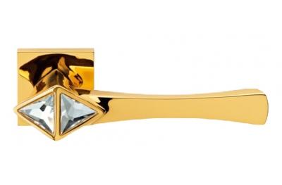 Cometa Gold Plated Door Handle on Rosette Linea Calì Crystal