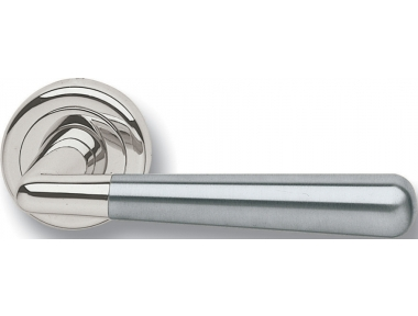 Pair of Ghidini Lever Handles Ginevra OCL Inox with Roses and Escutcheons