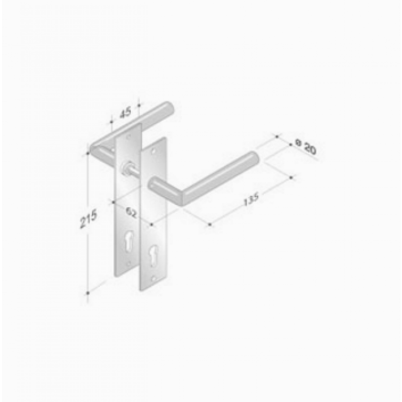 pba 2029/2001 Pair of Handles with Plate in Stainless Steel AISI 316L
