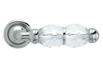 Crystal Polished Chrome Door Handle on Rosette Linea Calì Crystal
