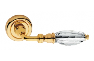 Diamante Gold Plated Door Handle on Rosette Linea Calì Crystal