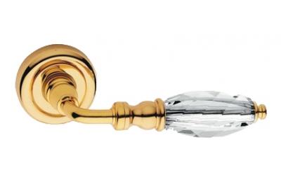Diamante Gold Plated Door Handle on Rosette Linea Calì Crystal