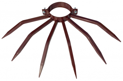 Theft Deterrent Diameter 80 mm Grimpo with Spikes for Outside Pipes like Drainpipes in Brown Painted Steel