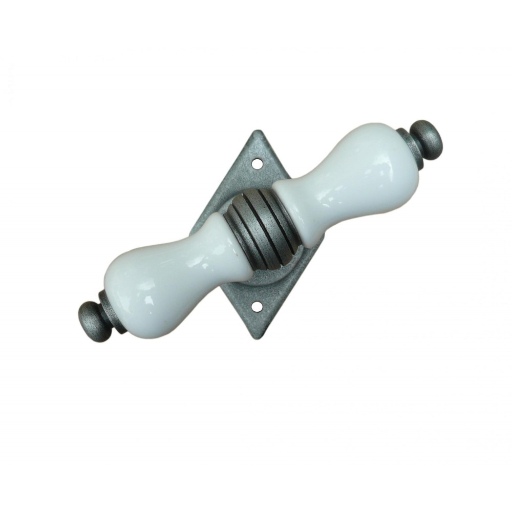 Dublin Galbusera Window Handle with Rosette Porcelain and Wrought Iron
