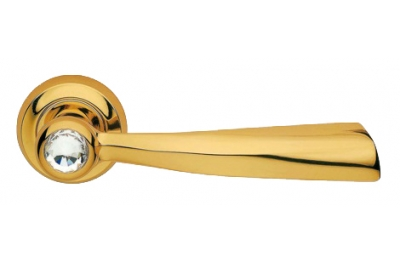 Elika Crystal Gold Plated Door Handle on Rosette Linea Calì Crystal