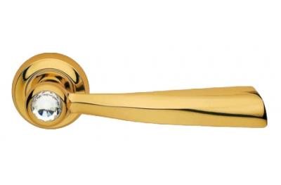Elika Crystal Gold Plated Door Handle on Rosette Linea Calì Crystal
