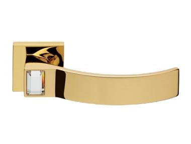 Elios Crystal Gold Plated Door Handle on Rosette Linea Calì Crystal