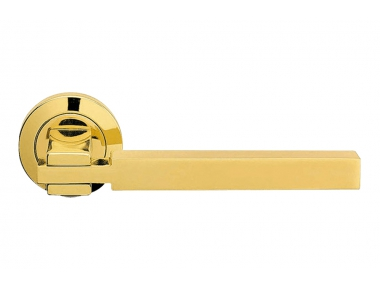 Elle Satin Chrome Door Handle With Rose Geometric Lines by Linea Calì